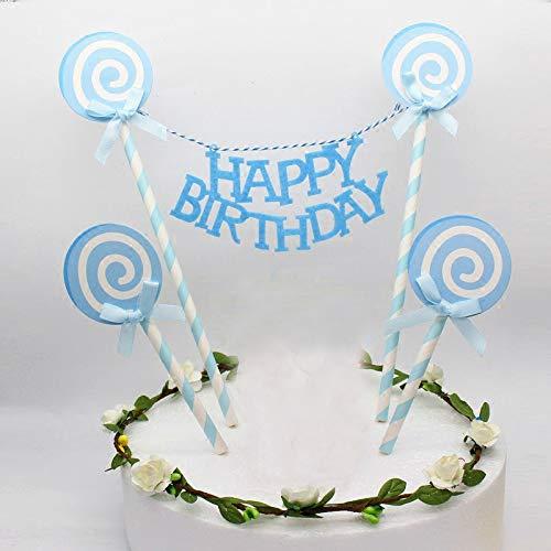 e-Glitter-Kuchen dekorieren Topper für Kuchen Cupcake und EIS - Happy Birthday Blue Lollipop Set ()
