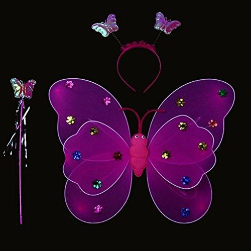 LED Light Schmetterling Flügel Magic Prop Spielzeug, mamum 3/Set Mädchen LED-Blinklicht Fairy Schmetterling Flügel Zauberstab, Haarband Kostüm Spielzeug Einheitsgröße violett