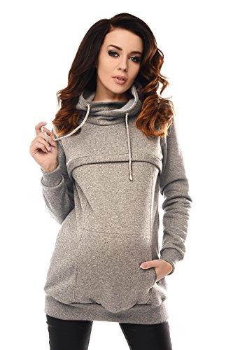 Purpless maternity 2in1 felpa con collo ad anello per gravidanza e allattamento al seno b9054 (36, gray melange)