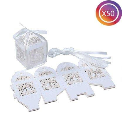 Tankerstreet 50PCS Candy box Hollow Out Flowers Roses Birds con nastri confezione regalo bag bridal (Bridal Shower Regalo Regalo Di Nozze)
