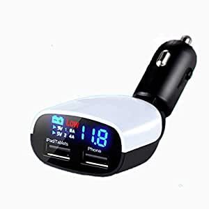 Tiwkich Universal Mini Output 2-USB Car Charger 5V 3.4A Car Charger Adapter Power Supply With Current/Voltage LED Display For Tablet and Phone iPad Iphone 5S 4S HTC Samsung --Color:Black+White