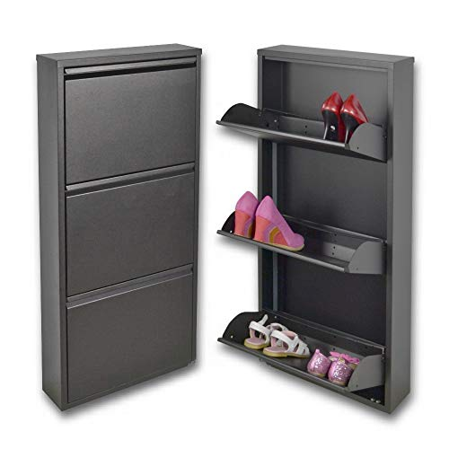 Scarpiera salvaspazio slim a 3 ante nera, per un massimo di 9 paia di scarpe; le uniche scarpiere in metallo, garantite a vita, anche per esterni.