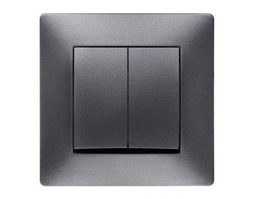 Schuko Steckdose Ausschalter Taster Lichtschalter Schalter VOLANTE ANTHRAZIT Einsatz + Rahmen + Abdeckung (Doppel Ein/Ausschalter 2611-08) -