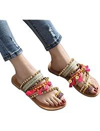 187a7477eb41 Moonuy Femmes Bohème Sandales Femmes Style Ethnique Vintage Chaussures  Plates Femme Exquise Strass Sandales Dames Plage