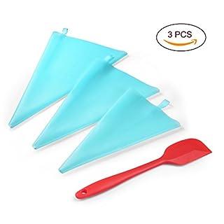 Uarter Silikon gewebter Beutel 3 + Hochtemperaturcreme ein Schaber eins/Perfekt für Pralinen/Plätzchen/Keksen/Kuchen und Torten Deko decorating tools aus Edelstahl