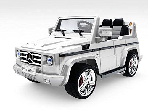 RC Auto kaufen Kinderauto Bild 2: Lizenz Kinderfahrzeug Mercedes Benz G55 AMG Jeep SUV mit 2x 35W Motor Kinderauto Elektroauto Fernbedienung MP3 Anschluss in Schwarz*