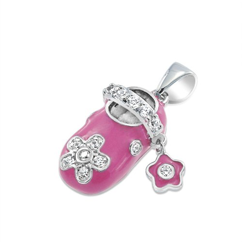 Bling Jewelry Argento sterlina rosa smalto CZ pattino di bambino pendente di fascino