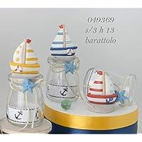 6 botes de cristal portapeladillas con diseño de barco y playa, ...