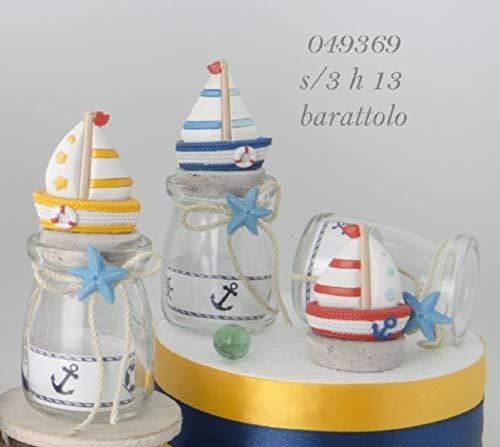 6 pezzi sabbia barattolo vetro portaconfetti con barca mare bomboniera