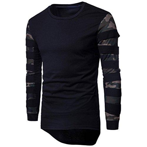 ❤️Hommes Pull à Manches Longues imprimé Tops Sweatshirt Tee Blouse Usure, Amlaiworld Veste Homme Sweatshirt Blouson❤️ (S, Noir)