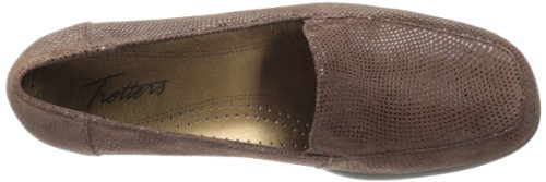 Trotters Jenn Mini Dots Cuir Chaussure Plate Dark Brown