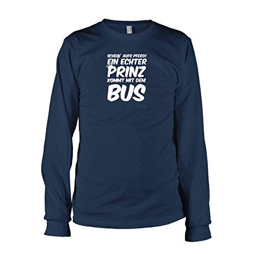 TEXLAB - Ein echter Prinz kommt mit dem Bus - Langarm T-Shirt Dunkelblau