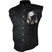 Lobo Chi, metal gótico lobos fantasía de los hombres camisa de trabajo sin mangas negro - M - Espiral directa
