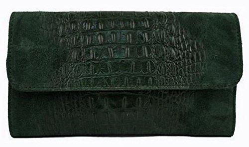 Pochette in vera pelle scamosciata stampa coccodrillo con catena BC504 Verde Calidad Superior De La Venta Barata Manchester Salida De Gran Venta ojom7eDLb
