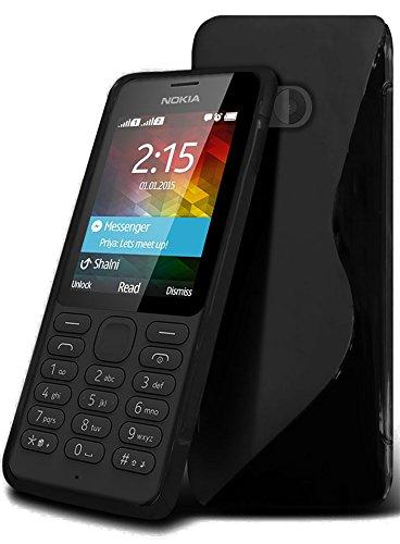 Gadget Giant® Nokia 215 Dual SIM Hohe Qualität S-Line Hydro Silikon Haut Abdeckung S line flexibel Hülle Case schutzhülle - Black Farbe