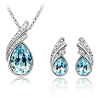 White Gold Plated Blue Swarovski Element Jewelry S