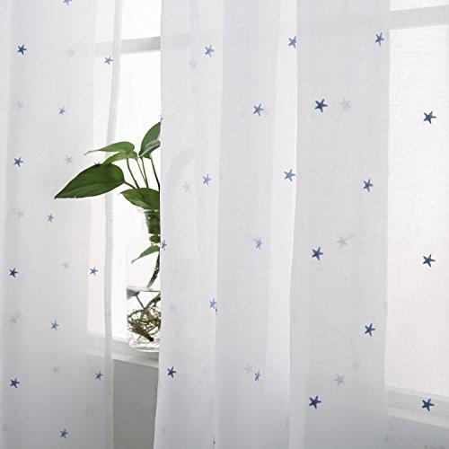 Deconovo tende voile ricamate stelle pattern tende trasparenti con occhielli per bambini 140x245 cm celeste 2 pannelli