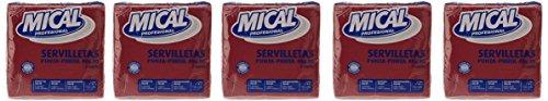 Mical-Tovaglioli, colore: prugna/bordò-2 strati, 40 x 40 cm-5 x 50