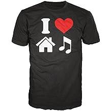 Diseño con texto en inglés I Love de la música de casa de T-camiseta de manga corta (negro)