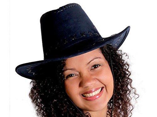 Cappello da cowboy stile western texas australiano blu scuro (C-42) unisex in camoscio rifinitura pelle accessorio carnevale travestimento festa tempo libero cavaliere