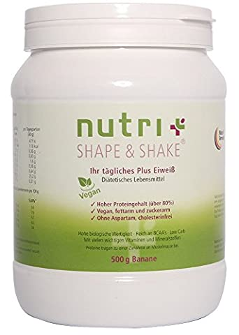 Nutri-Plus Shape & Shake Vegan Banana 500g - Without aspartame, lactose, cholesterol and lactoprotein