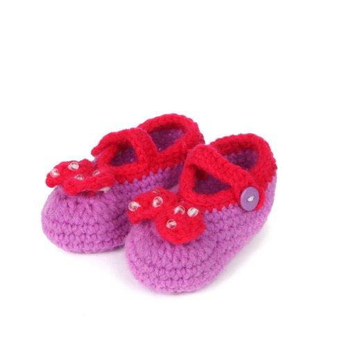 11 Botão Krabbelschuhe unisex Ykk Baby Roxo Roxo Chinelos Centímetros K Sorriso Fofo Sapatos Malha Comprimento Z8BYZS7W