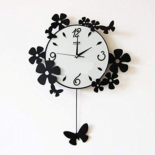 Unbekannt Wanduhr Schmetterling Gemeinschaften aus Eisen, Ruhig Pastorale Uhren der Wall-of-The-Art Salon der Uhr von Quarzuhren Pendu Lums [Schwarz] - Black 14 cm