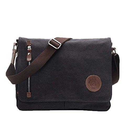Laptop-Tasche 14 Zoll Mens Vintage Lässige Mode Leinwand Messenger Bags Aktentasche Crossbody einzelne Umhängetasche Ipad Tasche Buch Tasche Schulranzen Schultasche (schwarz) -