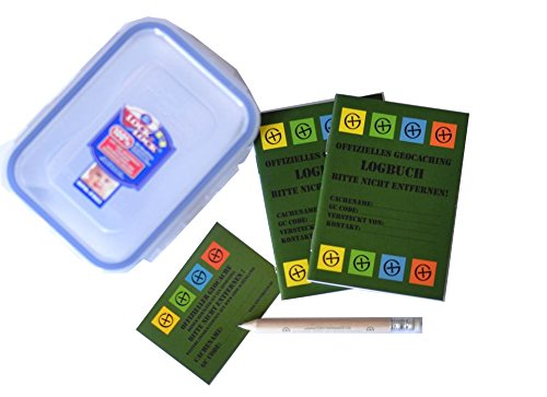 5 Teilig - Geocaching Versteck -LOCK & LOCK Dose Regular, mit 2 x Logbuch und Stift, Frischhaltedose wasserdicht