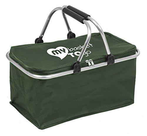 Einkaufskorb faltbar mit Deckel | schöne Farben | MY BASKET TO GO | Korb, Shopper faltbare Tasche | groß, stabil, verschließbar, leicht zu reinigen | hohe Tragkraft | Allzweck-Kiste | FRISCHGRÜN