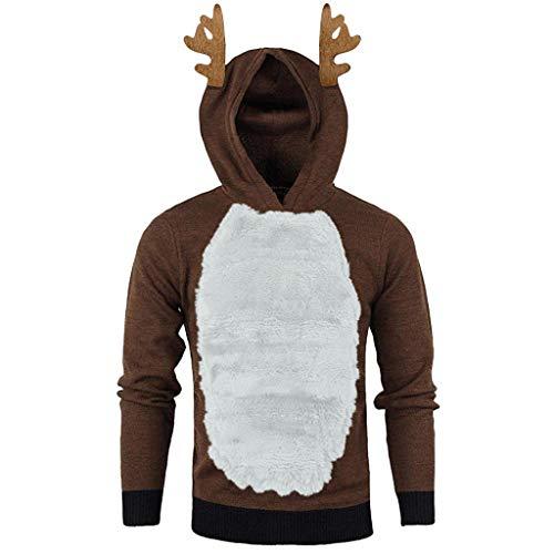 Meclelin Weihnachtspulli Hoodies Pulli Weihnachtspullover Sweatshirt Weihnachtlichen Kapuzenpullover Mit Kapuze Herren Weihnachten Rentier Hooded Sweater