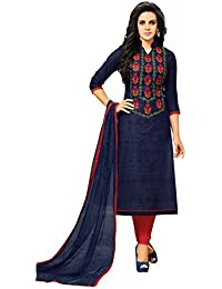 91af426623 Women s Unstitched Chanderi Salwar Suit Dupatta Material - Denim Blue