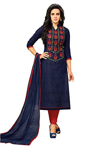 Oomph! Women's Unstitched Chanderi Salwar Suit Dupatta Material - Denim Blue
