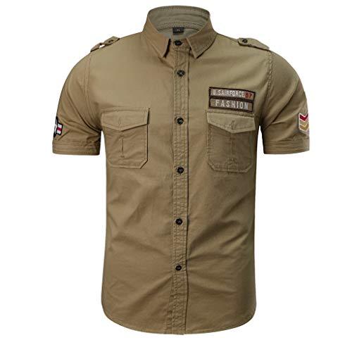 Haut Vetement Homme Pas Cher a la Mode Tee T-Shirt à Manche Courte Homme Top Sweat Chemise Kaki Vest Gilet XXXL