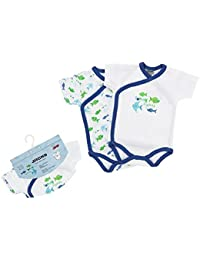 "Jacky Baby - Jungen Wickelbody kurzarm 2er-Pack ""funny fishes"" blau 151682"