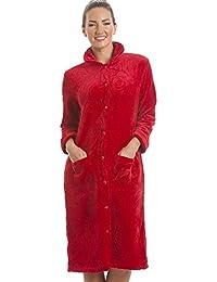 Robe de chambre en polaire - boutons sur le devant - femme - rouge