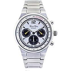 Ross Rino Kepheus Unisex Quarzuhr mit weißem Zifferblatt Analog-Anzeige und Silber Edelstahl Armband