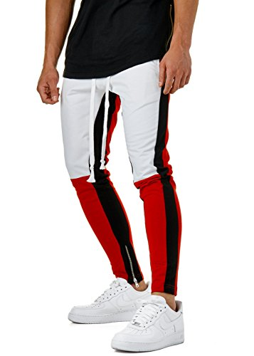 EightyFive Herren Jogginghose Sweat-Pants Streifen Tapered Schwarz Rot EFJ5049, Hosengr��e:M, Farbe:Rot/Wei�