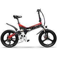 LANKELEISI G650 Bicicleta eléctrica Plegable de 20 Pulgadas 400W 48V 12.8Ah Batería de ión de Litio 5 Nivel Pedal Assist Suspensión Completa (Negro Rojo, 12.8Ah estándar)