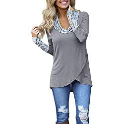 SHOBDW Mujeres Retro O-Cuello Franja de Manga Larga Sudadera Jersey Tops Blusa Camisa (Gris, L)