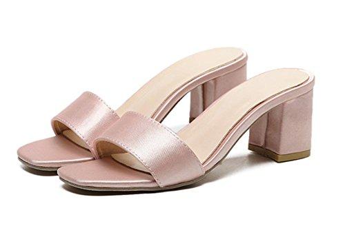 Wort mit dick mit weiblichen Sandalen Sommer Sandalen Frauen Pink