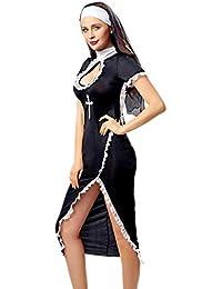 Traje De Mujeres Disfraz De Cosplay De Monja Adulto con Gorra Negra para El Vestido De