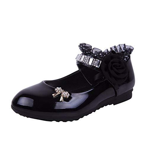 GJKK Kinder Mädchen Sandalen, Mode Prinzessin Schuhe Blume Strass Tanz Sandalen Krabbelschuhe Lauflernschuhe Einzelne Schuhe Geschlossene Sandalen (EU:23, Schwarz)