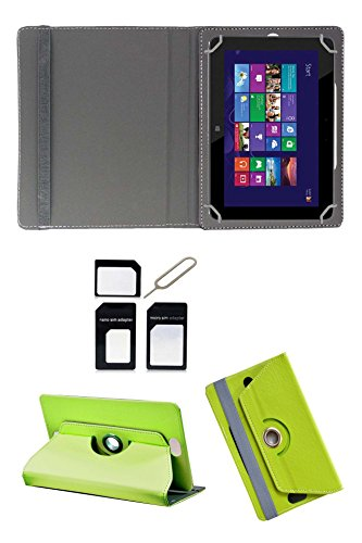 "Hello Zone Exclusive 360° Rotating 8"" Inch Flip Case Cover Book Cover for Micromax Canvas Tab P666 -Green + Free Sim Adapter Kit"