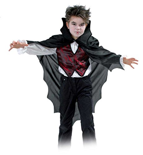 Der Finsternis Vampir Fürst Kostüm - KarnevalsTeufel Dracula Hemd für Kinder Umhang Weste Halloween Gr 128