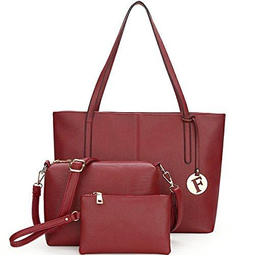 Fexkean Borse Donna Handbag + Shoulder Bag + Purse 3pcs Bag Set Rosso