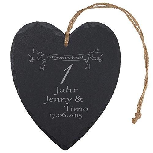 """Schieferherz """"Papierhochzeit"""" - individuelles Herz aus Schiefer mit Namen gravieren - Geschenk für Ehepaare zu 1. Ehejubiläum"""