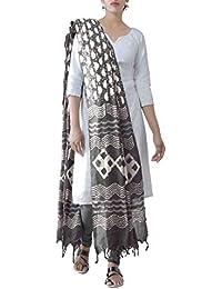 Unnati Silks Women Pure Dabu Printed Rajasthani Cotton Dupatta From The Weavers Of Rajasthan (UDS2090+Grey)