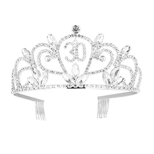 Frcolor Geburtstag Tiara Silber Kristall Krone 30. Geburtstag Haar Schmuck Dekoration