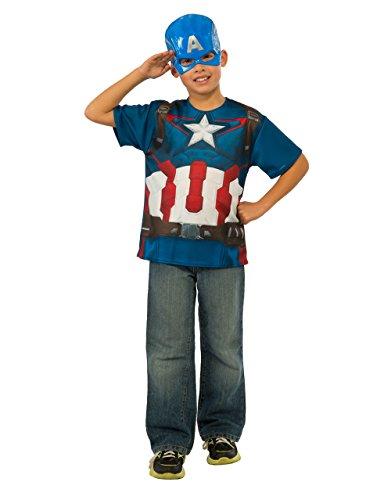 Kit Captain America Kostüm - Captain America Shirt Accessory Kit, Kids Avengers Age of Ultron Outfit, groß, Alter 8-10